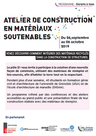 Ateliers de construction en matériaux soutenables, 26 septembre 2019 - 6 octobre 2019